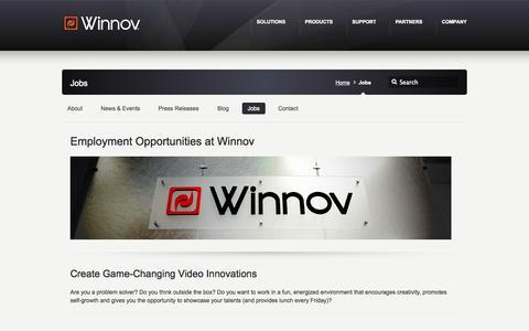 Screenshot of Jobs Page winnov.com - Jobs - Winnov - captured Oct. 29, 2014