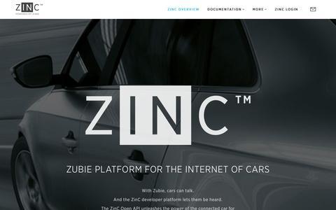 Screenshot of Developers Page zubie.com - ZINC - captured Dec. 1, 2015