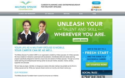 Screenshot of Home Page militaryspousefoundation.org - Free Business Training for Military Spouses | Military Spouse Foundation - captured Sept. 30, 2014