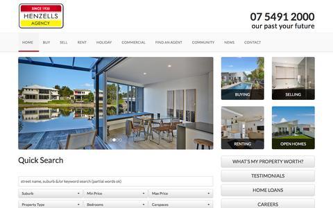 Screenshot of Home Page henzells.com.au - Henzells Agency - Caloundra - captured Jan. 28, 2016