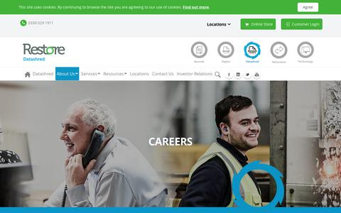 Screenshot of Jobs Page restore.co.uk - Restore > Datashred > About Us > Careers - captured Sept. 26, 2018