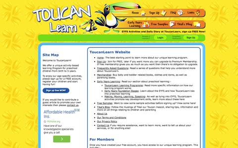 Screenshot of Site Map Page toucanlearn.com - ToucanLearn: Article Index - captured Oct. 7, 2014