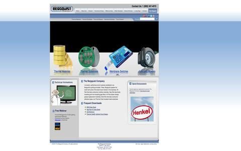 Screenshot of Home Page bergquistcompany.com - Thermal Interface Material, Thermal Management ~ The Bergquist Company - captured Oct. 8, 2014