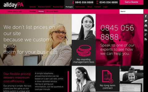 Screenshot of Pricing Page alldaypa.com - alldayPA Pricing Plans, Telephone Call Answering Service Costs   alldayPA - captured Oct. 29, 2014