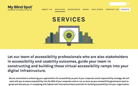 Screenshot of Services Page myblindspot.org - My Blind Spot - Services | My Blind Spot - captured Sept. 20, 2018