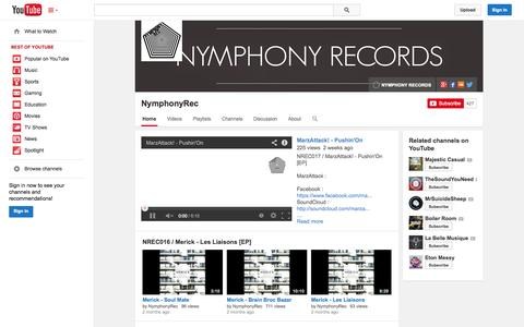 Screenshot of YouTube Page youtube.com - NymphonyRec  - YouTube - captured Oct. 26, 2014