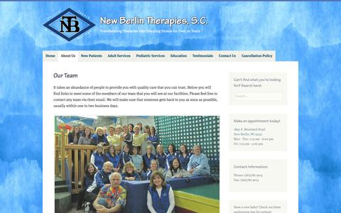 Screenshot of Team Page newberlintherapies.com - Our Team – New Berlin Therapies, S.C. - captured Aug. 13, 2016