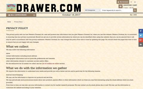 Screenshot of Privacy Page drawer.com - Privacy Policy - captured Oct. 20, 2017