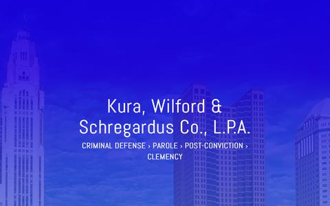 Screenshot of Home Page kurawilford.com - Kura, Wilford & Schregardus Co., L.P.A. | Parole, Post-Conviction, & Clemency - captured Oct. 16, 2018
