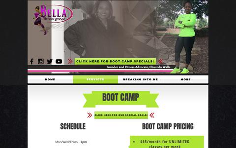 Screenshot of Services Page bellafitnessgroup.com - Bella Fitness Group | Services - captured Oct. 19, 2018