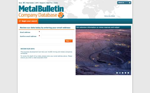 Screenshot of Trial Page mbdatabase.com - Free Trial | Metal Bulletin Company Database - captured Oct. 3, 2014