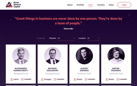 Screenshot of Team Page buranvc.com - Team - BuranVC : BuranVC - captured Nov. 13, 2018
