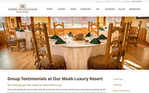 Screenshot of Testimonials Page sorrelriver.com - Group Testimonials | Sorrel River Ranch Resort & Spa - captured Oct. 7, 2014
