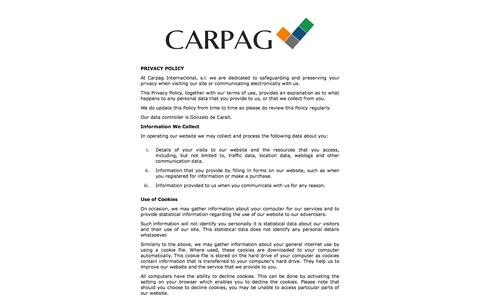 Screenshot of Privacy Page carpag.com - CARPAG INTERNACIONAL S.L - captured Oct. 2, 2014