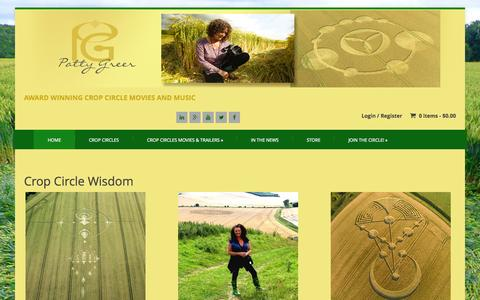 Screenshot of Home Page pattygreer.com - PattyGreer.com | Crop Circles Movies, Education, and Crop Circle Research. - captured Jan. 23, 2015