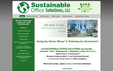 Screenshot of Home Page sustainableofficesolutions.com - New Used Office Furniture Equipment in Syracuse Dewitt Manlius NY - captured Oct. 7, 2014