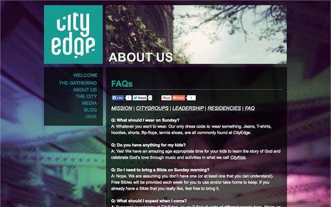 Screenshot of FAQ Page cityedge.org - FAQs | CityEdge Christian Church | CityEdge - captured Oct. 2, 2014