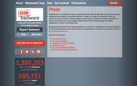 Screenshot of Press Page stopbadware.org - Press | StopBadware - captured Sept. 19, 2014