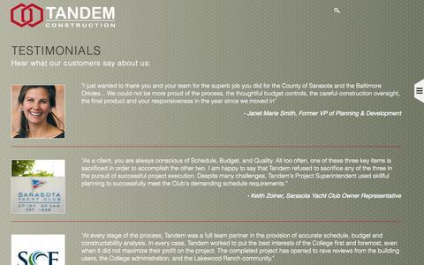 Screenshot of Testimonials Page tandemconstruction.com - Testimonials | Tandem Construction - captured Nov. 5, 2014