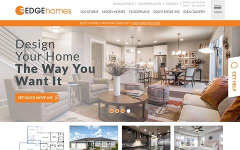 Screenshot of Home Page edgehomes.com - Home Builders in Utah & Utah New Homes For Sale | EDGE Homes - captured Dec. 31, 2015