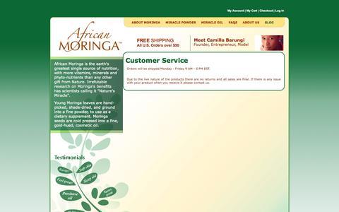 Screenshot of Support Page africanmoringa.com - African Moringa - Customer Service - captured Sept. 30, 2014