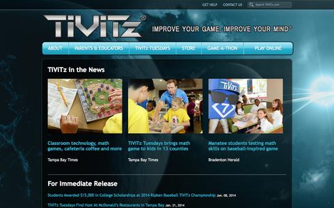Screenshot of Press Page tivitz.com - Press Room - TiViTz Math Game - captured Oct. 1, 2014