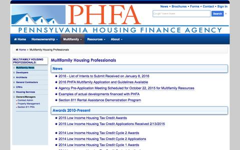 Screenshot of Developers Page phfa.org - Multifamily Housing Professionals - captured Jan. 20, 2016