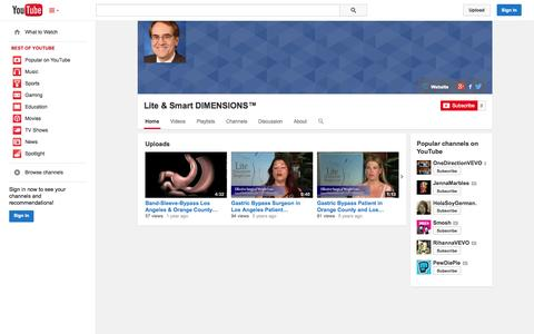 Screenshot of YouTube Page youtube.com - Lite & Smart DIMENSIONS™  - YouTube - captured Oct. 25, 2014