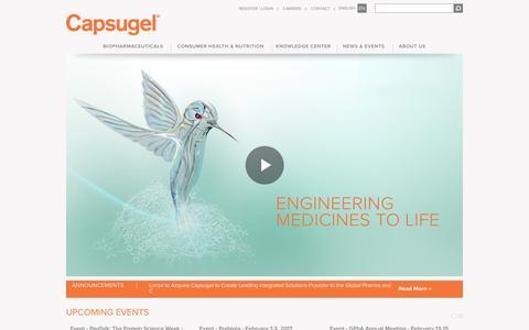 Screenshot of Home Page capsugel.com - Capsugel - captured Dec. 30, 2016