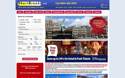 Screenshot of Home Page short-breaks.com - Short Breaks Ltd Eurostar Short Break Deals to Europe from just £99pp - captured Sept. 23, 2014