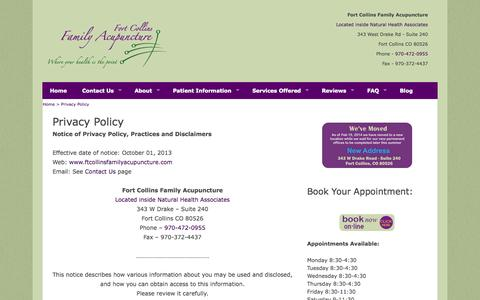 Screenshot of Privacy Page ftcollinsfamilyacupuncture.com - Fort Collins Family Acupuncture Privacy Policy - captured Oct. 6, 2014