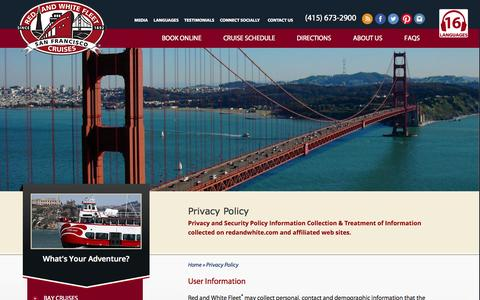 Screenshot of Privacy Page redandwhite.com - Privacy Policy - Red and White Fleet Cruises - captured Oct. 9, 2014