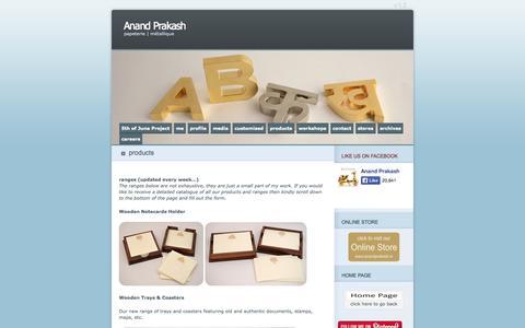 Screenshot of Products Page anandprakash.com - products   Anand Prakash - captured Sept. 30, 2014