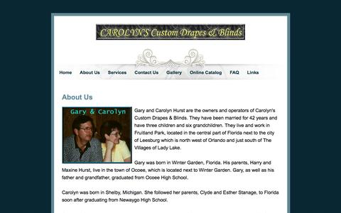 Screenshot of About Page carolynsdrapes.com - CAROLYN'S - About Us - captured April 10, 2017