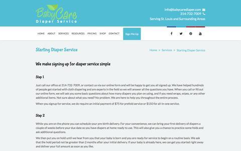 Screenshot of Services Page babycarediaper.com - Starting Diaper Service - Baby Care Diaper Service, LLC - captured Feb. 7, 2016