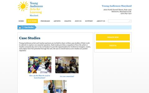Screenshot of Case Studies Page yamd.org - Case Studies - Young Audiences Arts For Learning, MarylandYoung Audiences Arts For Learning, Maryland - captured Oct. 7, 2014