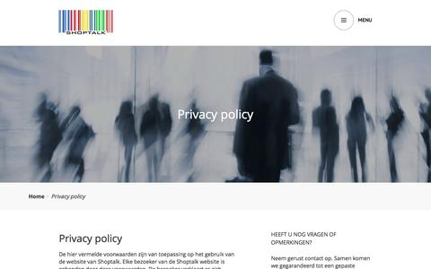 Screenshot of Privacy Page shoptalk.be - Privacy policy | ShopTalk - captured Aug. 25, 2016