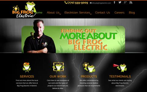 Screenshot of Home Page bigfrogelectric.com - Local Buford Electricians | Electrical Contractors Buford Ga - captured Jan. 2, 2016