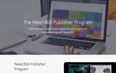 Screenshot of Landing Page news360.com captured Oct. 22, 2016