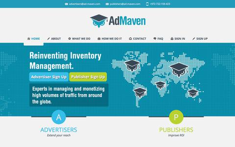 Screenshot of Home Page ad-maven.com - Ad-Maven | The Leading Popunder Network - captured July 28, 2018