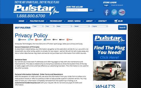 Screenshot of Privacy Page pulstar.com - Pulstar : Bigger Spark | More Power | Longer Life - captured Nov. 5, 2014