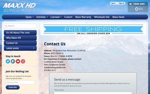 Screenshot of Contact Page maxxsunglasses.com - Contact Us | MaxxSunglasses - captured May 21, 2017