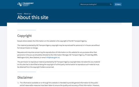 Screenshot of Privacy Page nzta.govt.nz - About this site  | NZ Transport Agency - captured Feb. 1, 2018