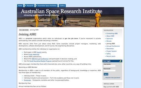 Screenshot of Signup Page asri.org.au - Joining ASRI | Australian Space Research Institute - captured Feb. 6, 2016