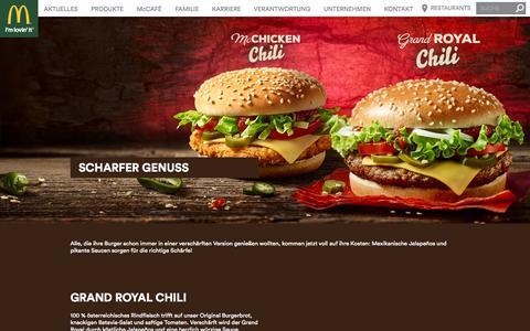 Screenshot of Home Page mcdonalds.at - Grand Royal Chili | McDonald's - captured Aug. 8, 2015