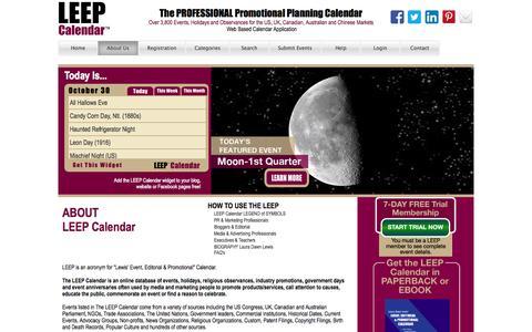 Screenshot of About Page leepbook.com - Leep Calendar - captured Oct. 31, 2014