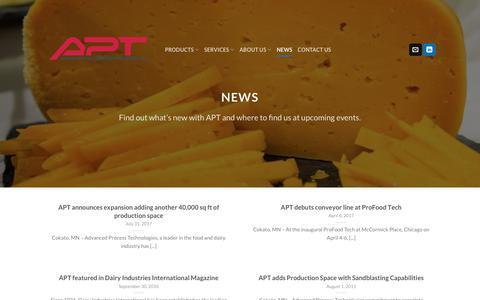 Screenshot of Press Page apt-inc.com - News | APT inc. - Advanced Process Technologies - captured Oct. 3, 2018