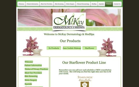 Screenshot of Products Page mckayderm.com - Products - captured Nov. 28, 2016