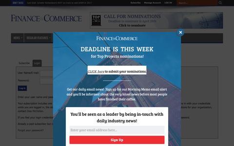 Screenshot of Login Page finance-commerce.com - Finance & Commerce - captured April 19, 2017