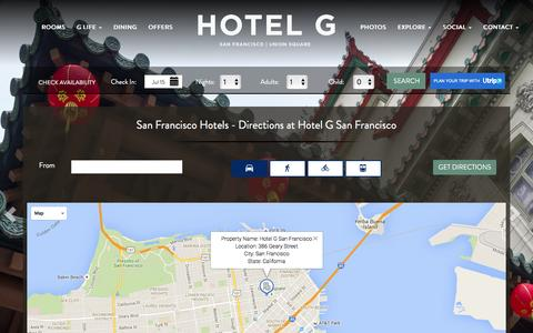 Screenshot of Maps & Directions Page hotelgsanfrancisco.com - Hotel G San Francisco Directions - San Francisco Hotels - captured July 16, 2016